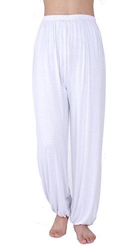 WOOD MEETS COLOR Yoga Hosen Herren Lange Schlaf Hose Modaler Weiche Strick Pyjama(XXL, Weiß)