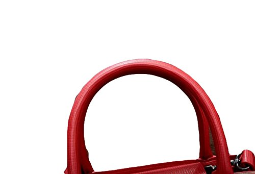 PU Damen Gürtel Dekoration Handtasche Kleinen Quadratischen Tasche Schief Revers Paket Reißverschluss Red1