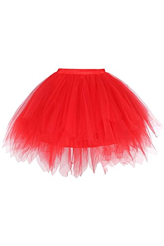50er Kurz Retro Petticoat Tutu Rock Reifrock Ballett Tanzkleid Unterkleid Rockabilly für Kostüm Party Rot - Rot Party Kostüm