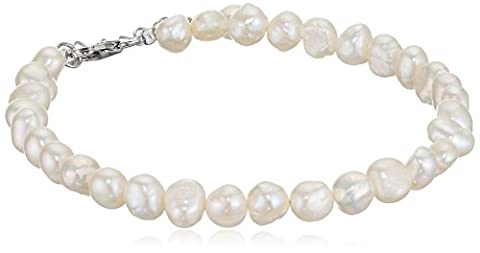 Elements Silver B2947W Ladies' White Freshwater Pearl Single Row Sterling