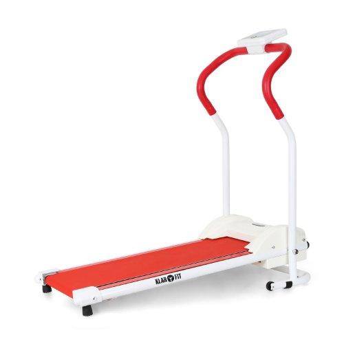 Klarfit Treado Basic Laufband Heimtrainer (Aufstellwinkel 10°, Trainingscomputer mit LCD-Display, gepolsterte Griffe, einstellbare Geschwindigkeit)