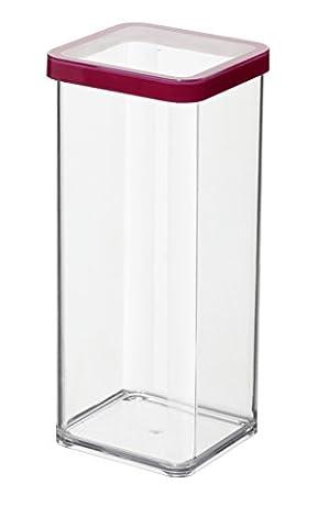Rotho Vorratsdose Premium Loft - aromadichte Aufbewahrungsbox - BPA-freie Frischhaltedosen - Kunststoffbehälter ist spülmaschinentauglich - Inhalt 1.5 l - Form quadratisch - ca. 10 x 10 x 21.4 cm (LxBxH) - transparent/transparent- 1160500096