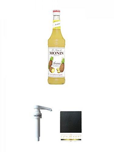 Schiefer-cocktail (Monin Ananas Sirup 0,7 Liter + Monin Dosier Pumpe für 0,7 & 1,0 Literflasche + Schiefer Glasuntersetzer eckig ca. 9,5 cm Durchmesser)