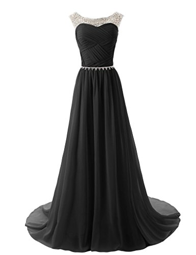 Vantexi Damen Chiffon Lange Brautjungfernkleid Perlen Abendkleid Schwarz