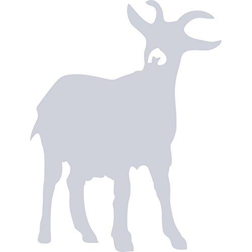 ThatVinylPlace Wandaufkleber/ Wandtattoo, Motiv: Kleine Ziege, aus Vinyl, Dekoration für Badezimmer/ Kinderzimmer/ Auto/ Fenster/ Wand, 18 x 14 cm, in 18 Farben erhältlich, Silber metallic, S