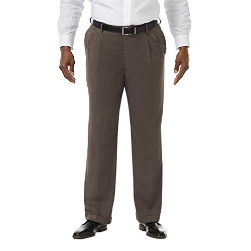 Haggar Herren Big and Tall Big & Tall Premium Stretch Solid Expandable Taille einfarbig Front Dress Hose - Braun - 58W / 30L Big And Tall Mens Dress Hose