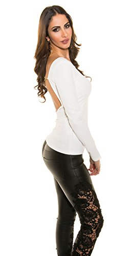 In-Stylefashion - Sweat-shirt - Femme blanc Weiß taille unique Weiß