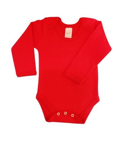 BabywearUK Body Vest Env Neck Long Sleeved Red British Made Newborn