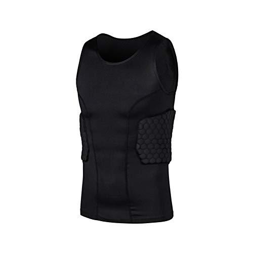 Schulter Rippe Brust Hüfte Protector Sports Schutz gepolsterte Strumpfhose T-Shirt für Outdoor Fußball Basketball Paintball Rugby,A,L