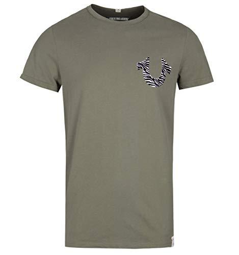 True Religion Zebra Horseshoe Print Olive T-Shirt - XXL