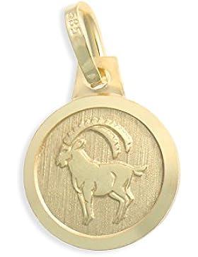 Sternzeichen Tierkreiszeichen Steinbock & Schutzengel 14 Karat Gold 585 Anhänger Durchmesser 10mm (Art.213128)