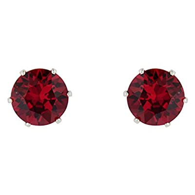 Sterling Silver Stud Earrings Made with Ruby Crystals from Swarovski July Birthstone