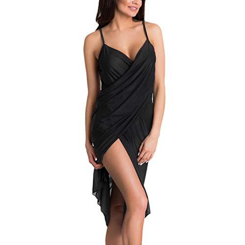 Aquarti Damen Strandkleid Wickelkleid Pareo V-Ausschnitt, Farbe: Schwarz, Größe: L/XL