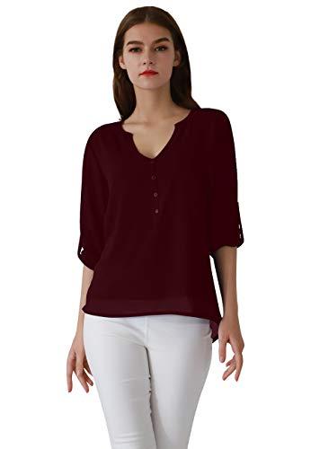 OMZIN Damen Tops Chiffon Langarm Shirts Casual Bluse Langarm V-Ausschnitt Knöpfe Decor Asymmetrisch Shirts Tops Burgundy M