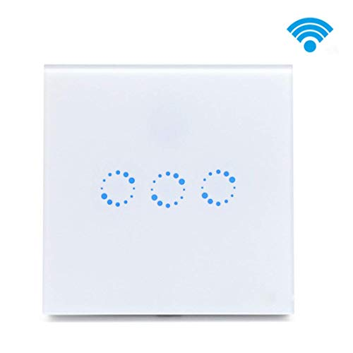Lrifue 3-Gang WiFi Smart Light Switch with Alexa and Google Home Timing Function Tempered Glass Light Switch (Neutral Wire Needed!) - Smart Wire