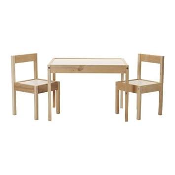 IKEA LÄTT Kindertisch mit 2 Stühlen, weiß, Kiefer: Amazon.de ... | {Kindertisch 51}