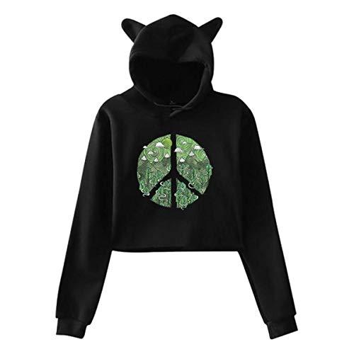 EricJohnston Süße Natur Friedenszeichen Katze Ohr Hoodie Pullover Mädchen Crop Top Mode warm cool(XL,schwarz) -