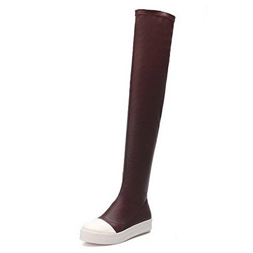 AllhqFashion Damen Niedriger Absatz Pu Leder Gemischte Farbe Überknie Hohe Stiefel Stiefel Weinrot