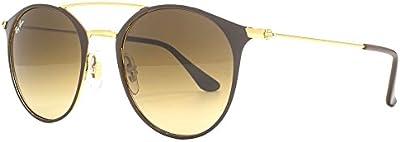 Ray-Ban Doble puente de gafas de sol redondas Metal en oro marrón RB3546 900985 49