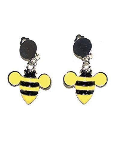 Pet Kostüm Bumblebee - Luxuspiraten - Kostüm Accessoires Zubehör Ohrringe Ohrclips in Hummel Bienen Stil, Bumblebee Earrings, perfekt für Karneval, Fasching und Fastnacht, Gelb