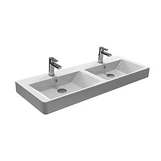 Aqua Bagno Design Keramik Doppel Waschbecken 120 cm Doppelwaschtisch Doppelwaschbecken Möbelwaschtisch