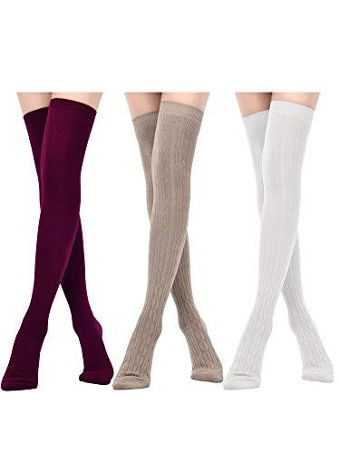 Boao 3 Paar Oberschenkel Hohe Socken Beinlinge Strümpfe Über Knie Baumwoll Socken Winter Warme Strümpfe für Damen Gefälligkeiten (Farbe Set 2)