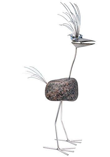 Dorothea, der elegante Steinvogel mit Wimpern. Ein Unikat. Dekoration für Haus und Garten. Eine Skulptur, die auch die Terrasse und den Balkon aufwertet. Die Gartenfigur ist aus Edelstahl mit Naturstein und somit wetterfest und rostfrei. Ein Geschenk für Leute die schon alles haben. Ca. 120 cm