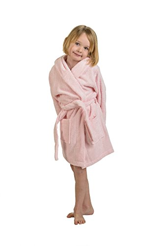Superior Egyptian Collection Hooded Terry Bath Robe for Kids, Large, Pink