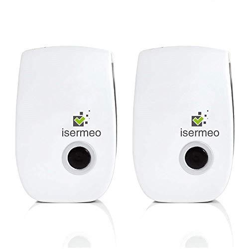 isermeo Repellente ad Ultrasuoni per Topi, Insetti, Zanzare, Ratti, Scarafaggi, Mosche, Pulci - Repeller ultrasonico per Ragni Efficace Sicuro e non Tossico per Domestico Casa Ufficio (pacchetto di 2)