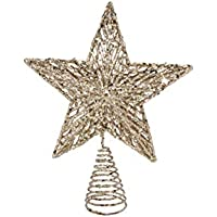 Gisela Graham Christmas White Gold Colour Glitter Tree Top Star Topper 23cm