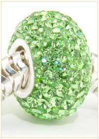 Swarovski PERIDOT Green Crystals Pave European Charm Bead SALE