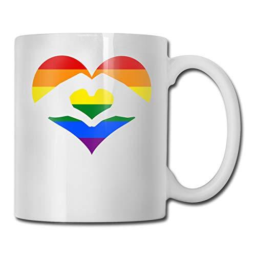 Liebe ist Liebe LGBT Regenbogen Herz Kaffee Tee Tasse Becher Keramik Liebhaber Geschenk - Regenbogen-herz-tee