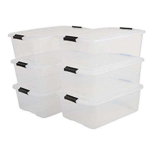 IRIS, 6er-Set stapelbare Aufbewahrungsboxen \'Top Box\', mit Deckel und Klickverschluss, 30 Liter, Kunststoff / Plastik, transparent