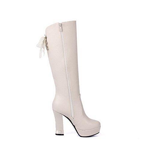 AllhqFashion Damen Weiches Material Rund Zehe Rein Hoch Spitze Hoher Absatz Stiefel, Aprikosen Farbe, 35