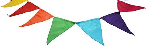 - 18 bunte Fahnen aus Polyester, 4,4m lang, farbenfrohe Dekoration für Innen- und Außenbereich, Handarbeit (Stoff-wimpel Fahne)