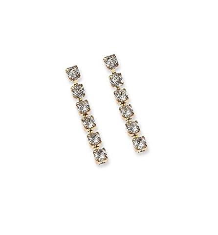 Diamante Drop Earrings - Swarovski Earrings - Crystal Earrings - Diamante Earrings - Gold Plated/Pierced