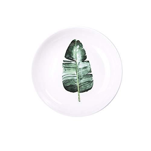 ALILEO Nordische Grüne Platte Kreative Keramische Tellerausgangsreisplatte Fruchtplatte Keramische Tellerplatte Stellten Geschirr Ins, 8-Zoll-Keramische Tiefe Schüssel - Baye Ein