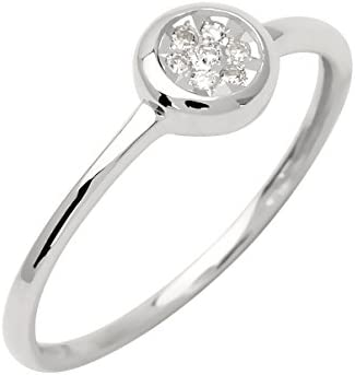 Anillo solitario 9 ct de collar de oro blanco de diamante 191509,41 0,05 Carat