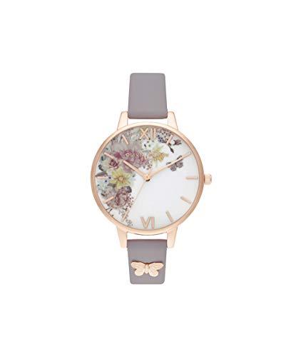 Olivia Burton Damen Analog Quarz Uhr mit Leder Armband OB16EG129