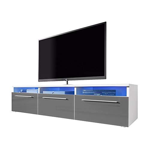 Meuble TV LAVELLO avec LED/ Cabinet pour la TV (blanc/ fronts gris brillant)