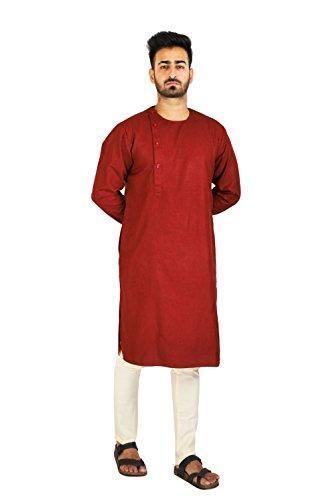 Thaath Men's Designer Maroon Ethnic Kurta & Churidar Set