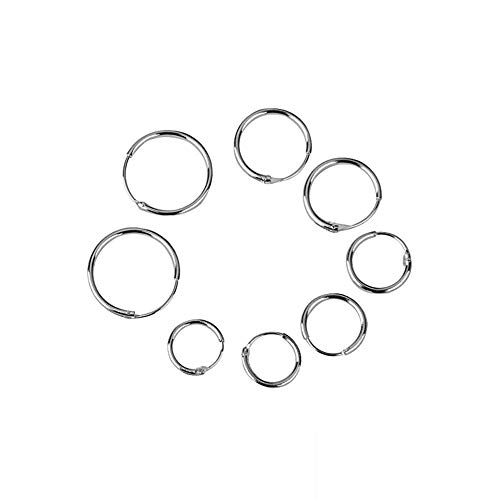 NiceButy 4 Paare 925 Silber Sterling Endless Hoop Sleeper Ohrringe Ohrstecker Ohr Helix Band Huggie Ohr Sleeper Ohrringe Piercing (OD: 8 10 12 14 mm) kreatives Design (Endless Hoop Ohrringe 14mm)