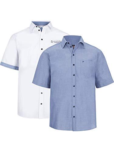 Jan Vanderstorm Herren Kurzarm Doppelpack Hemd Evin (freizeithemd, Herrenhemd) blau 2XL (XXL) - 45/46