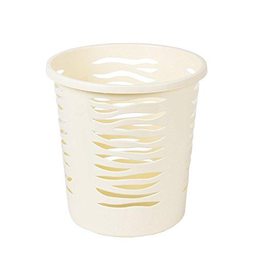 runder Papierkorb Zebra Style creme Mülleimer Abfallkorb Abfalleimer