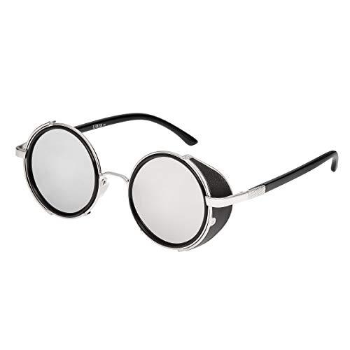 Ultra Silber Rahmen Silver Verspiegelten Linsen Steampunk Sonnenbrille Retro Damen Herren Rund Rave Gothic Vintage mit Scheuklappen UV400 Unisex