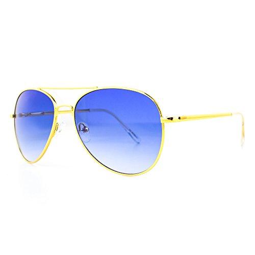DISTRESSED Sonnenbrille Pilotenbrille Topgun Pornobrille gold-blau-verlauf