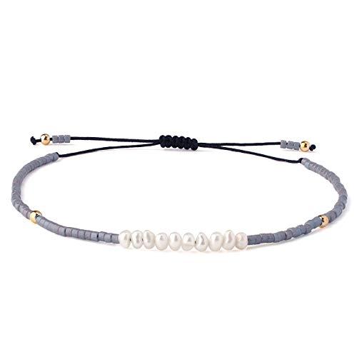KELITCH Frauen Armbänder für Mädchen Männer Shell Perle Japanische Rocailles Charme Freundschaft Armbänder Handgemachte Verstellbare Schnur Armband - Shiny Grey M