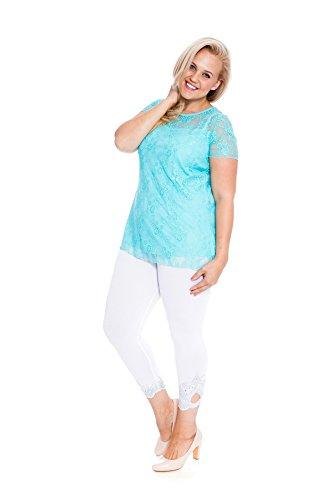 Nouvelle Collection Neu Damen Übergröße Top Frau Spitze T-Shirt Minze