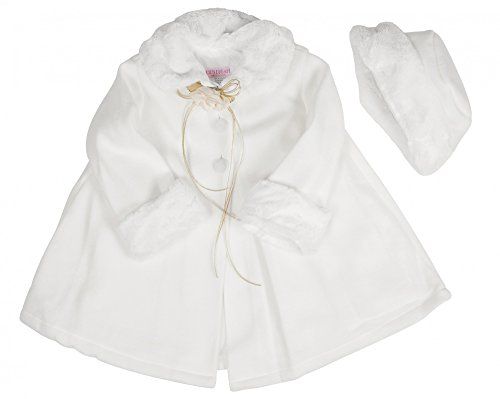 BIMARO Baby Mädchen Babymantel Mila weiß Taufmantel mit Mütze Fleece Mantel Jacke Hochzeit Taufe festlich Kindermantel, Größe:62/68