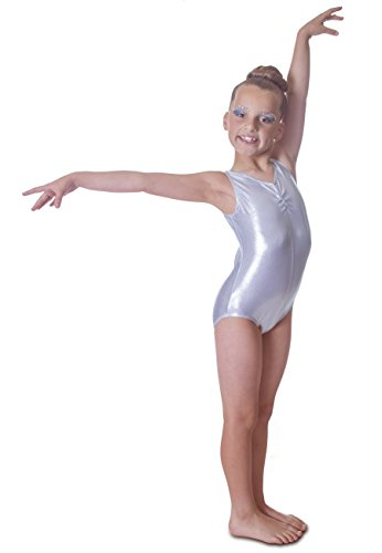 Deluxe Edition: Shiny Metallic Silver Sleeveless Dance Leotard (9-10 years, (Direct Dance Kostüme)